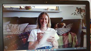 Anna und Tierschutz-Beagle Jack beim Einzeltraining über Skype