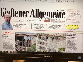 Titelseite Gießener Allgemeine 15-09-2021